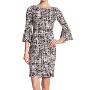 Calvin Klein BELL SLEEVE Check Dress WOMEN 4 NEW